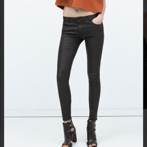 Zara Black Coated Jeans